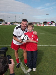 Conor doing mascot for the Liverpool Legends