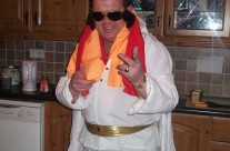 Jimmy Reid as Elvis on the night of the Darts Tournament