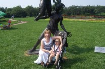 Aine and Mam Caroline in park in China